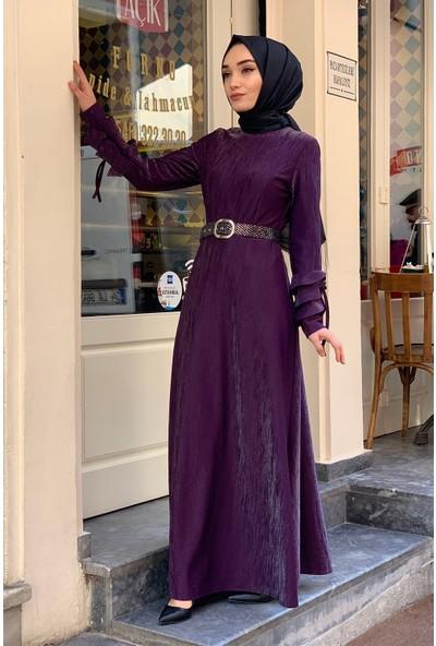 Lida Moda Simli Kol Detaylı Abiye Tesettür Elbise Mor