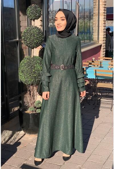Lida Moda Simli Kol Detaylı Abiye Tesettür Elbise Yeşil