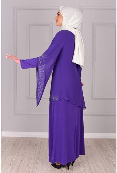 Lida Moda Taş Detaylı Abiye Elbise Mor