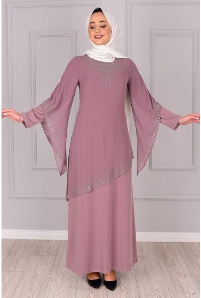 Lida Moda Taş Detaylı Abiye Elbise Pudra