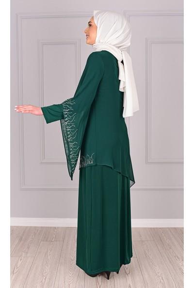 Lida Moda Taş Detaylı Abiye Elbise Yeşil
