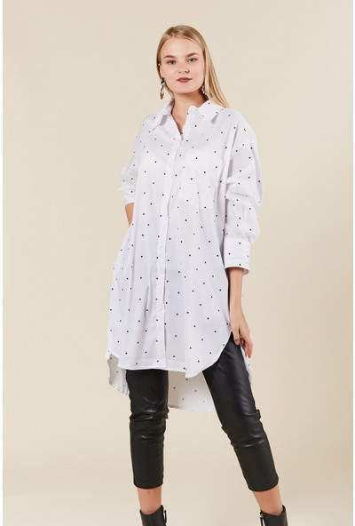 Coral 31199 Puantiyeli Cepli Gömlek Elbise Beyaz