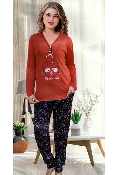AlpCollection Uzun Kollu Pamuklu Nar Çiçeği Kadın Alt Üst Pijama Takımı