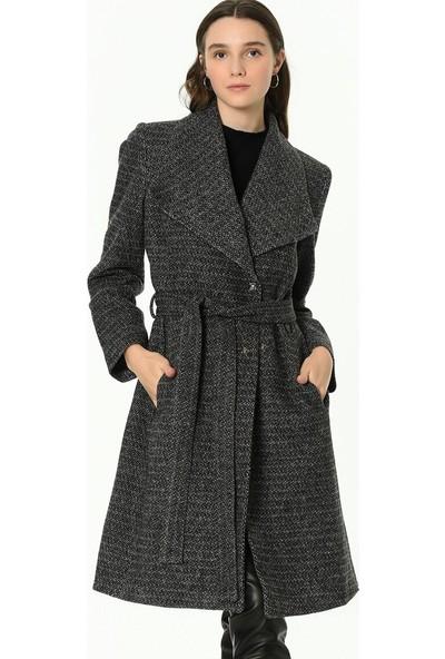 Dewberry Z6638 Ekose Kadın Palto-Desenli Siyah
