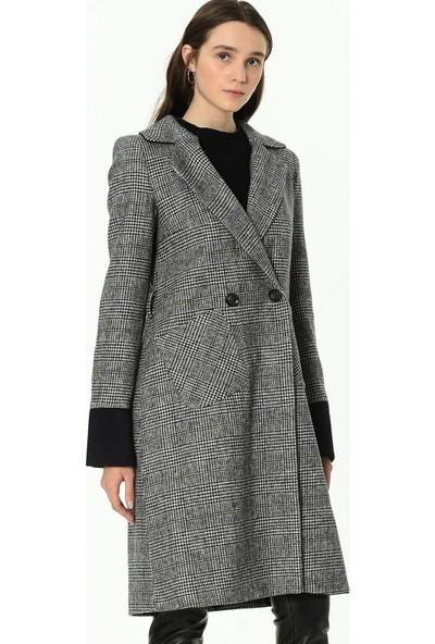 Dewberry Z6641 Ekose Kadın Palto-Lacivert-Haki