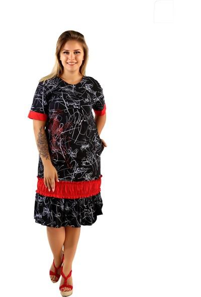 Endorfin Büyük Beden Kadın Baskılı Elbise Desenli