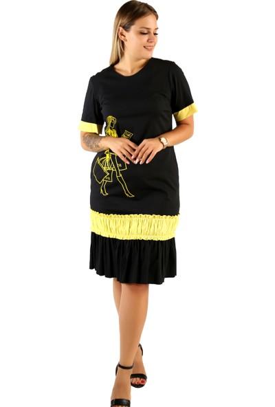 Endorfin Büyük Beden Kadın Baskılı Elbise Siyah