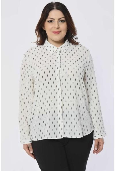 Pera Club Büyük Beden Baskılı Beyaz Gömlek
