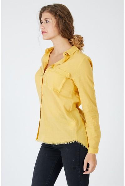 Pera Club Püskül Detaylı Sarı Gömlek