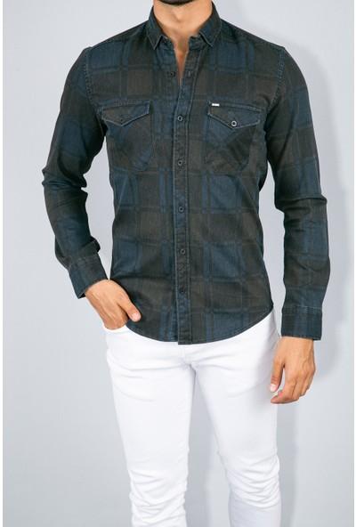 Youtwo Erkek Kareli Kot Gömlek Slim Fit