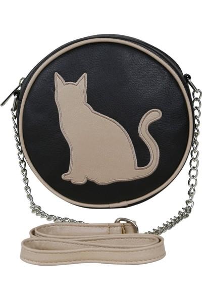 Bakras Kedi Nakışlı Çapraz Askılı Omuz Çantası