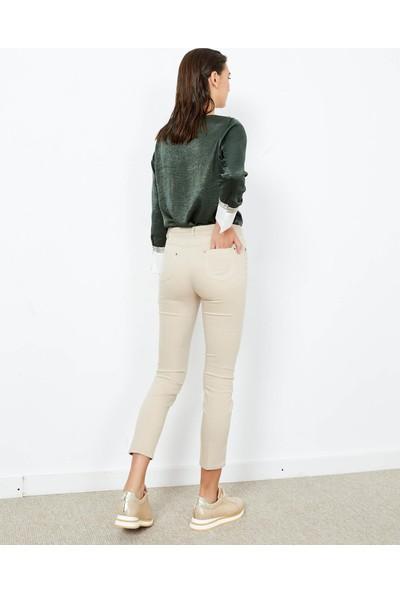 Adze Kadın Bej 5 Cepli Dar Paça Pantolon