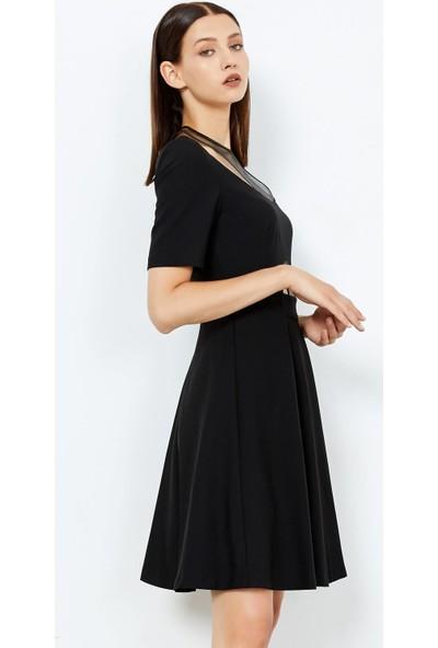 Adze Kadın Siyah Deri Detaylı Kısa Elbise