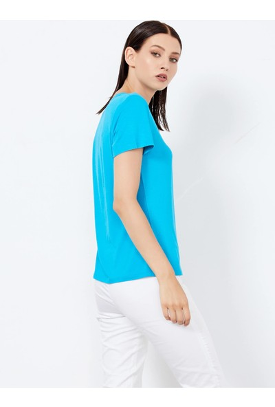 Adze Kadın Turkuaz V Yaka Basic Tişört
