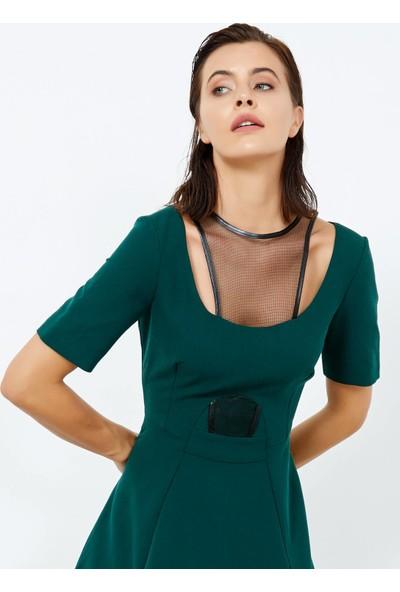 Adze Kadın Yeşil Deri Detaylı Kısa Elbise