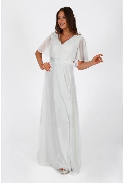 Carmen Ekru Şifon Piliseli Uzun Abiye Elbise