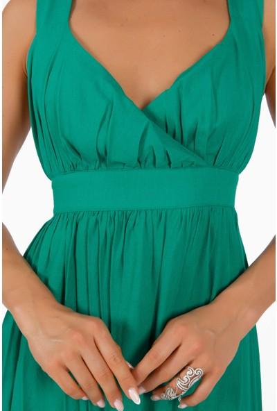Carmen Yeşil Çapraz Askılı Uzun Elbise