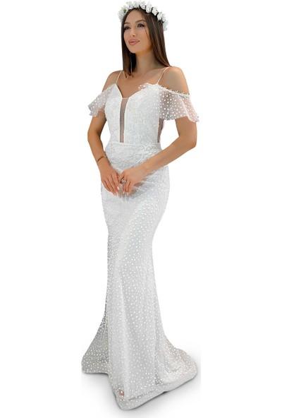 Carmen Ekru Düşük Omuzlu Nikah Elbisesi