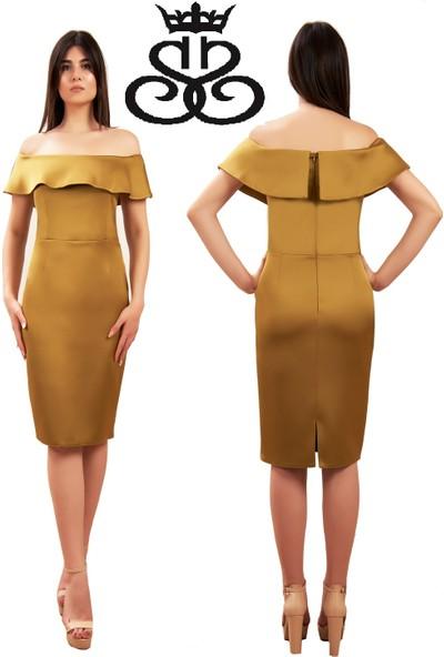 Sevgi Sert Kadın Apple Luwit Saten Valonlu Elbise