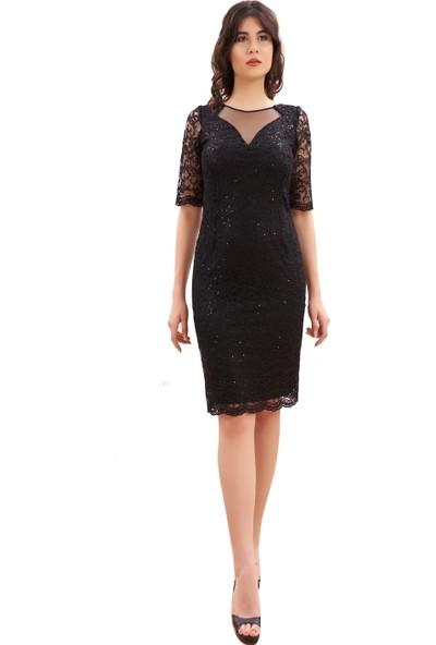 Sevgi Sert Kadın Dantel Valon Kollu Elbise