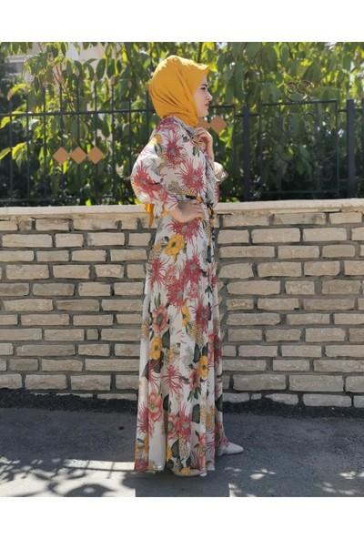 Stilife Bel Kemerli Büyük Çiçek Desen Elbise - Ekru