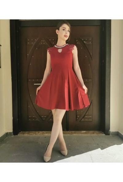 Gossip Yaka Inci Detay Sıfır Kol Kısa Elbise - Bordo