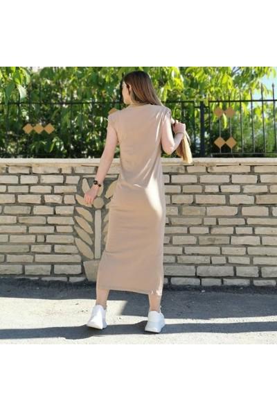 Lustrin Yırtmaç Detay Uzun Elbise - Camel