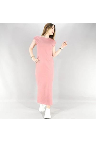 Lustrin Yırtmaç Detay Uzun Elbise - Gül