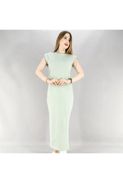 Lustrin Yırtmaç Detay Uzun Elbise - Mint