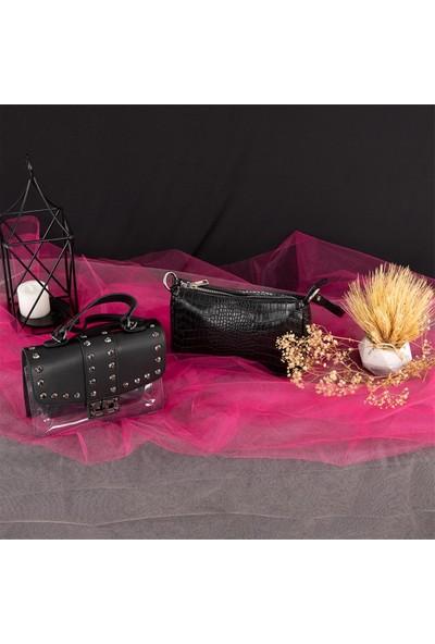 Melinka Butik Taşlı Siyah Çapraz Çanta