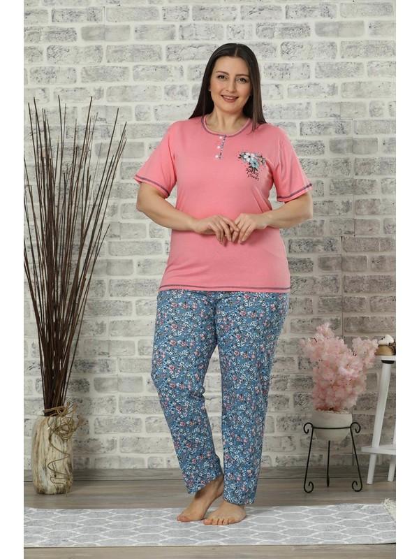 Mossta Kısa Kol Battal Beden Pijama Takım Fuşya
