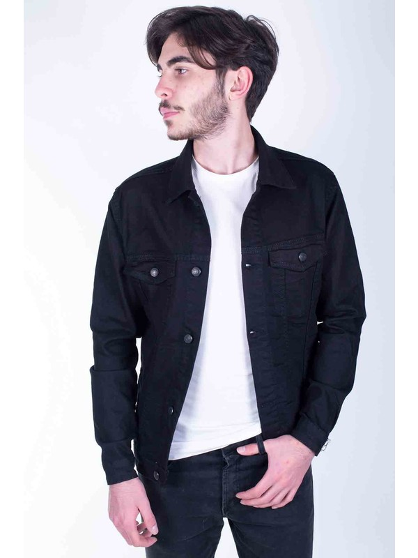 Zenet Jeans Erkek Slimfit Siyah Kot Ceket