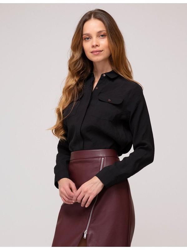 Pierre Cardin Kadın Siyah Regular Fit Gömlek 50197227-VR046