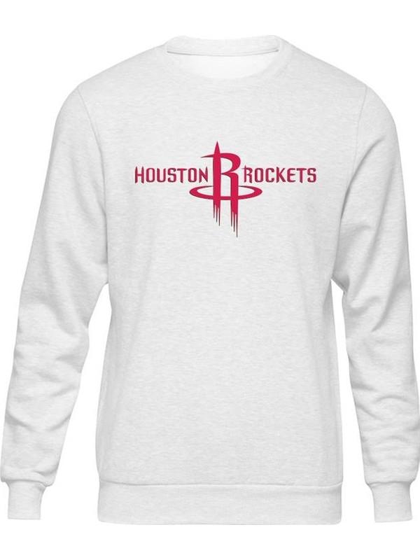 Fandomya All-Star Houston Rockets Beyaz Sweatshirt