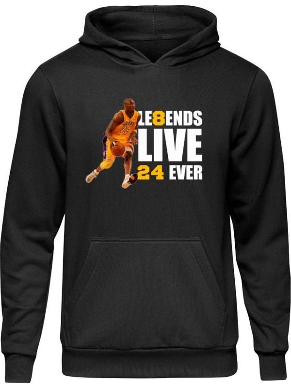 Fandomya All-Star Legend Kobe Bryant Siyah Kapşonlu Sweatshirt