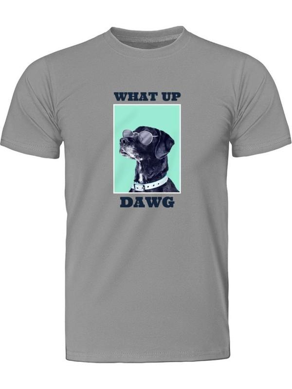 Fandomya Casual Animal Labrador Gri Tişört