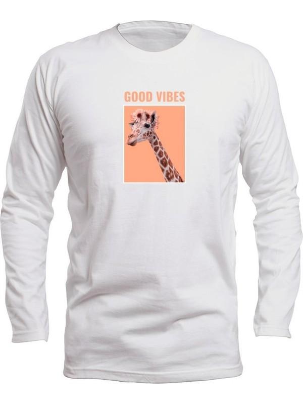 Fandomya Casual Animal Zürafa Beyaz Long Sleeve