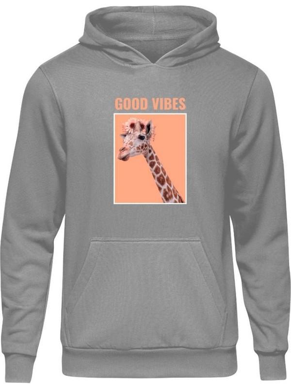 Fandomya Casual Animal Zürafa Gri Kapşonlu Sweatshirt