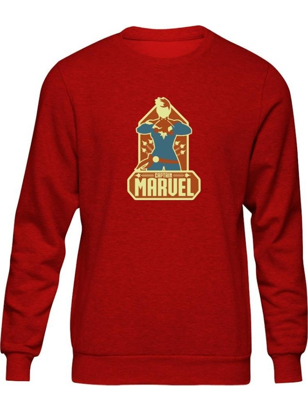 Fandomya Marvel Captain Marvel Kırmızı Sweatshirt