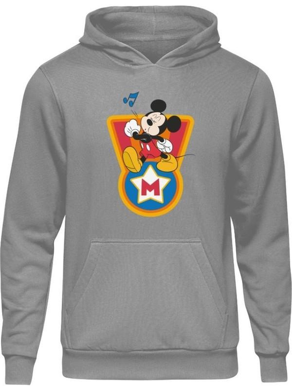 Fandomya Mickey Mouse Single Gri Kapşonlu Sweatshirt