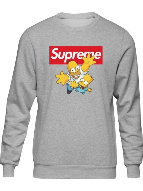 Fandomya Simpsons Supreme Gri Sweatshirt