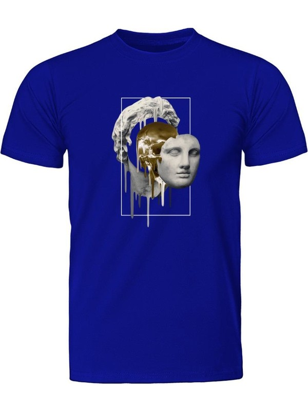 Fandomya Statue Gold Face Melt Mavi Tişört