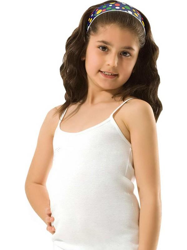 Özkan 0817 Kız Çocuk Ribana Taşlı İp Askılı Atlet