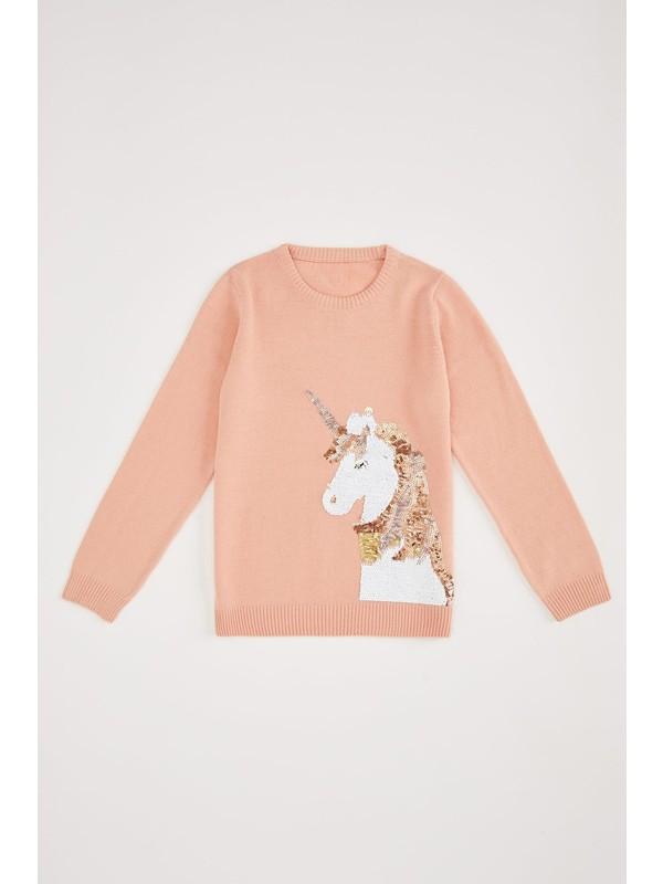 DeFacto Kız Çocuk Unicorn Pul Payet İşlemeli Uzun Kollu Triko Kazak N8520A620AU