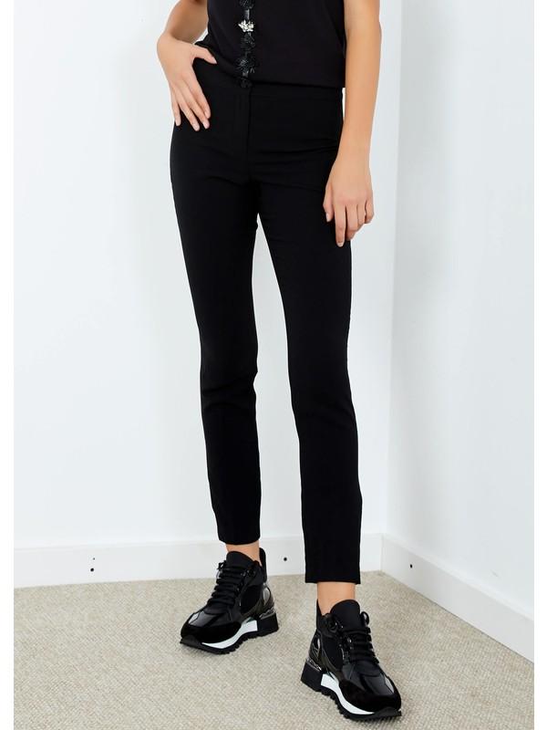 Adze Kadın Siyah Boru Paça Kumaş Pantolon