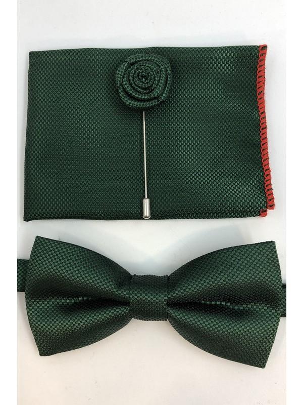 Quesste Koyu Yeşil Armür Desenli Papyon Mendil Yaka Iğneli Takım Set