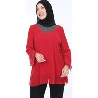 Sevista Sim ve Boncuk Işlemeli Şifon Tunik Kırmızı Kadın Giyim