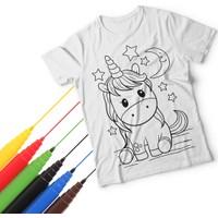 T-Moni Design Boyanabilir Unicorn Desenli Kız Çocuk Tişörtü+ Faber Castell 6'lı Keçeli Kalem Seti