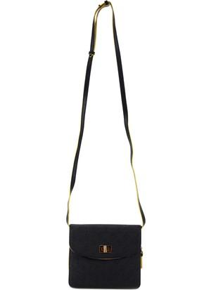 Vakko Siyah Sarı Detaylı Kadın Çanta