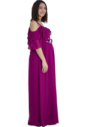 Entarim Baby Shower Hamile Elbise 6021Fuşya